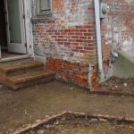 Rear view of Grant-Sawyer Home, steps and basement entrance - Grove City, OH