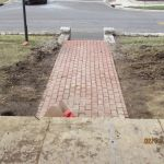 Front brick paved sidewalk at the Grant Homestead House - Grove City, OH