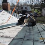 Installing the new roof at the Grant Homestead House
